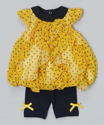 Baby Essentials Yellow & Black Polka Dot Babydoll Top & Leggings