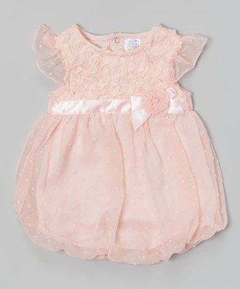 Baby Essentials Pink Swiss Dot Ruffle Bubble Bodysuit
