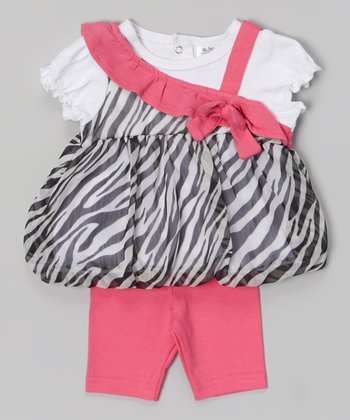 Baby Essentials Black & White Zebra Layered Top & Capri Pants