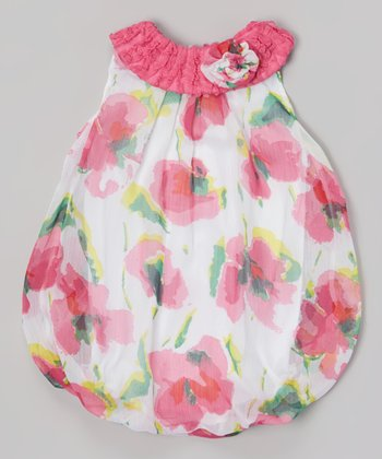 Baby Essentials White & Pink Floral Bubble Bodysuit