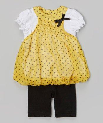 Baby Essentials Yellow & Black Polka Dot Layered Top & Capri Pants