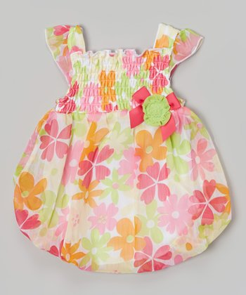 Baby Essentials Pink Floral Smocked Bubble Bodysuit