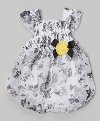 Baby Essentials Black & White Floral Smocked Bubble Bodysuit