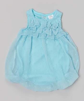 Baby Essentials Blue Swiss Dot Ruffle Bubble Bodysuit