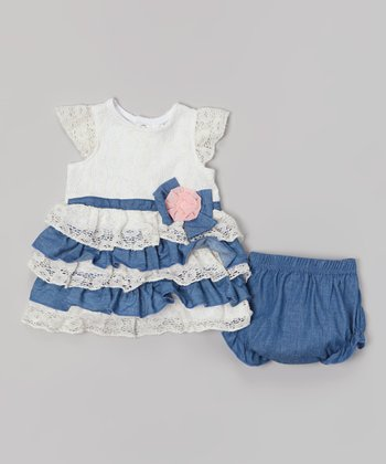Baby Essentials White Lace & Chambray Tiered Dress & Diaper Cover