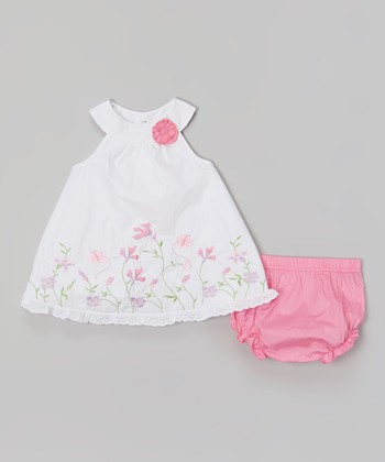 Baby Essentials White Floral Yoke Dress & Pink Diaper Cover