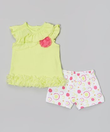 Baby Essentials Lime Ruffle Angel-Sleeve Top & Shorts