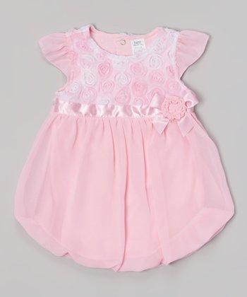 Baby Essentials Pink Rosette Bubble Bodysuit