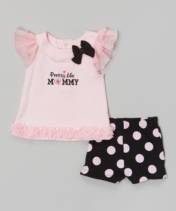 Baby Essentials Pink Ruffle 'Pretty Like Mommy' Angel-Sleeve Top & Shorts