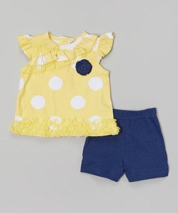 Baby Essentials Yellow & Navy Polka Dot Angel-Sleeve Top & Shorts