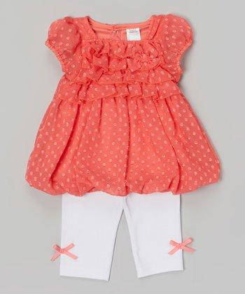 Baby Essentials Coral Swiss Dot Ruffle Angel-Sleeve Top & Leggings