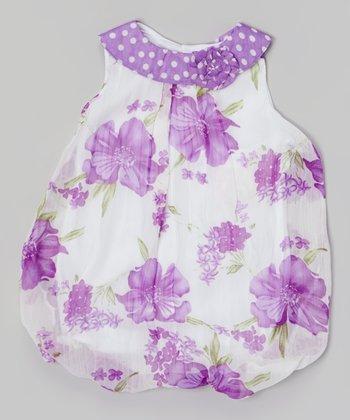 Baby Essentials Purple & White Floral Bubble Bodysuit