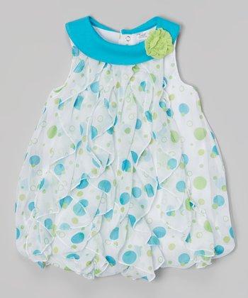 Baby Essentials Blue & White Dot Bubble Bodysuit