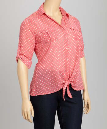 Coral & White Polka Dot Lace Tie-Front Button-Up - Plus