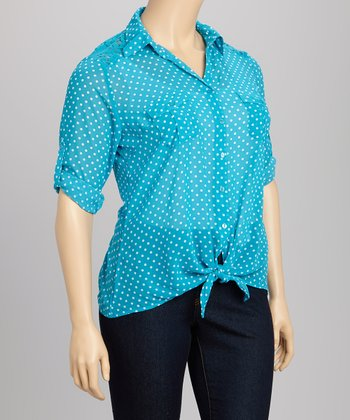 Vivid Teal & White Polka Dot Lace Tie-Front Button-Up - Plus