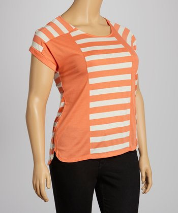 Orange & Oatmeal Stripe Color Block Cap-Sleeve Top - Plus
