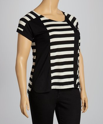 Black & Oatmeal Stripe Color Block Cap-Sleeve Top - Plus