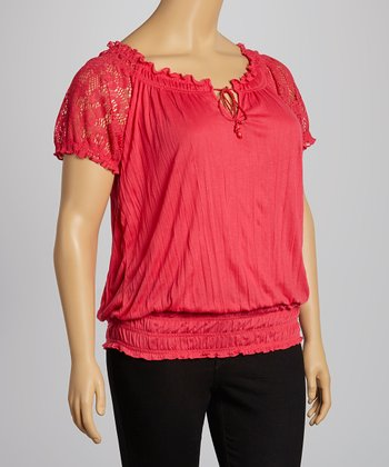 Ruby Coral Lace Peasant Top - Plus