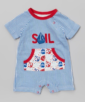Blue & Red Stripe 'Sail' Playsuit - Infant
