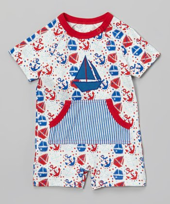 White & Red Sailboat Playsuit - Infant