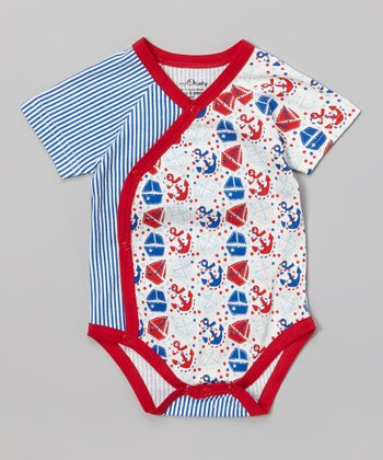 Blue & Red Stripe Nautical Wrap Bodysuit - Infant