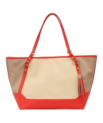 Tan & Red Jackie Tote