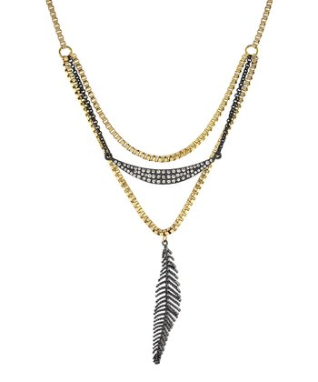 Black Crystal & Gold Feather Pendant Necklace