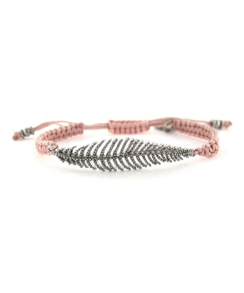 Silver & Pink Feather Friendship Bracelet