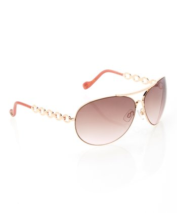 Rose & Gold Chain Pilot Sunglasses