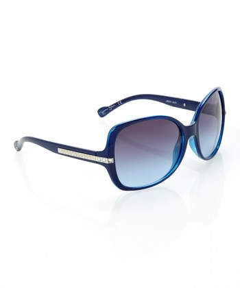 Navy Bedazzled Square Sunglasses