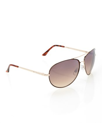 Black Gold Shimmer Pilot Sunglasses