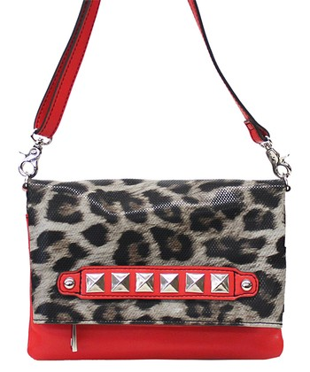 Red & Gray Leopard Roxie Crossbody Bag