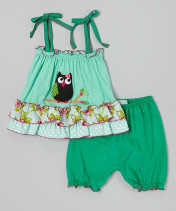 Green Owl Tiered Camisole & Bloomers - Infant