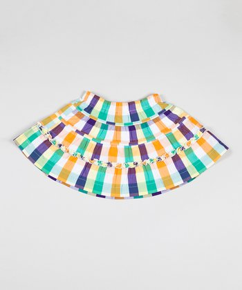 Yellow Plaid Field Day Skirt - Girls