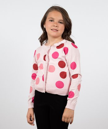 Ballerina Pink Polka Dot Gumdrop Cardigan - Toddler & Girls
