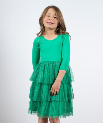 Dark Mint Season Sparkle Dress - Toddler & Girls