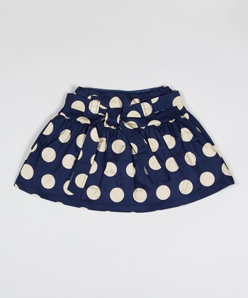 Navy Polka Dot Thumb Skirt - Toddler & Girls