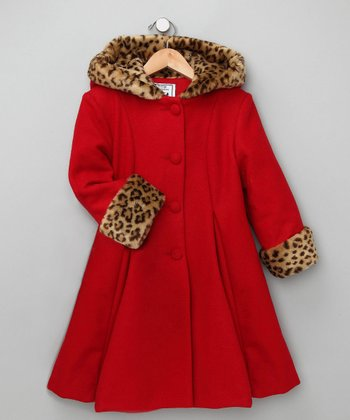 Red Faux Fur Wool-Blend Swing Coat Set - Infant, Toddler & Girls