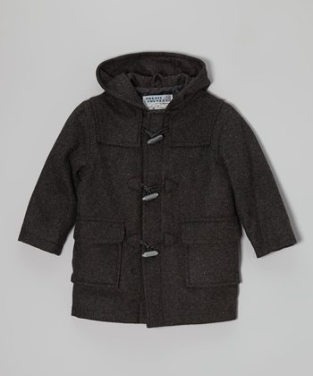 Charcoal Wool-Blend Toggle Coat - Infant, Toddler & Boys