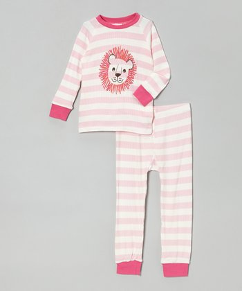 Pink Stripe Lion Pajama Set - Infant