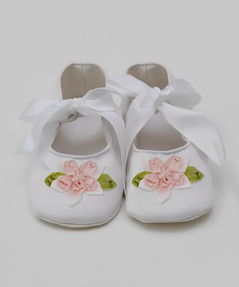 Truffles Ruffles Blush & White Flower Mary Jane