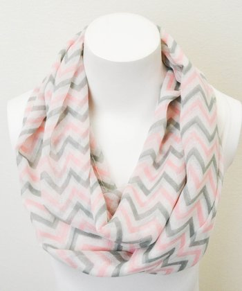 Pink & Gray Three-Tone Chevron Infinity Scarf