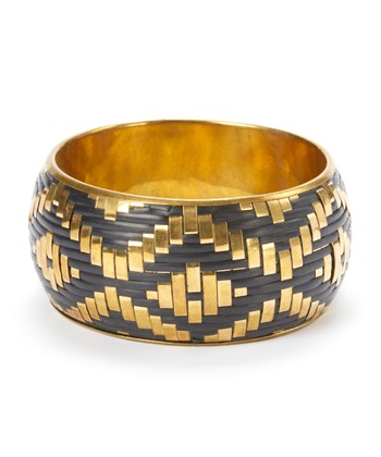 Gold & Black Woven Bangle
