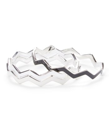 Silver & Black Chevron Bangle Set