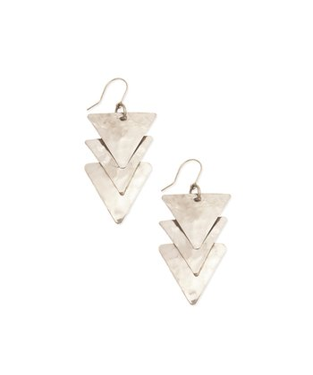 Silver Triple-Trianlge Drop Earring