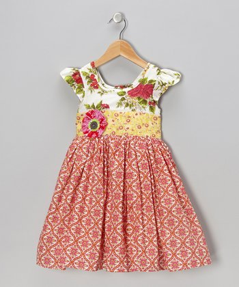 Bright Coral Lottie A-Line Dress - Infant