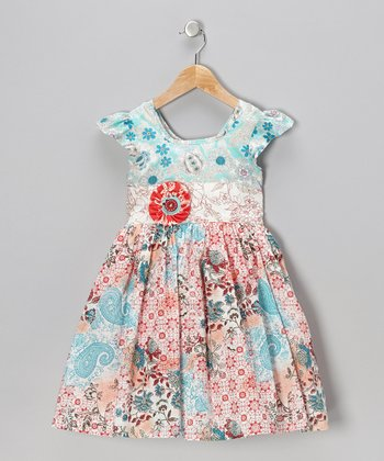 Red & Blue Lottie Dress - Infant & Girls
