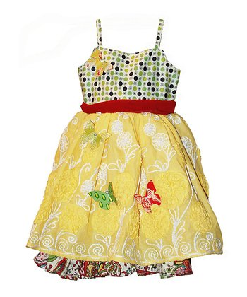 Bright Paloma A-Line Dress & Butterfly Pin Set - Toddler & Girls