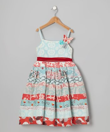 Red & Blue Rosalie A-Line Dress - Toddler & Girls