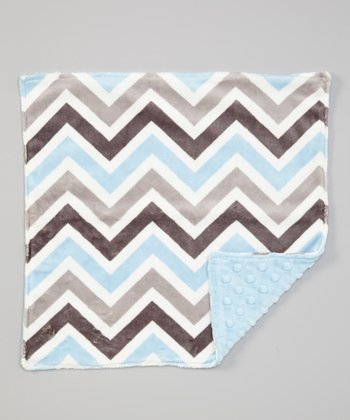 Baby Blue & Silver Chevron Minky Security Blanket